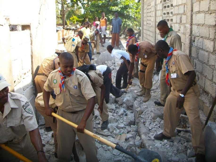 Scouts of Haiti attend the emergency call after the massive Earthquake
