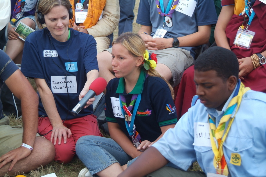 Scouts expressing their opinion for the BBC radio at the World Jamboree