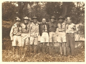 Group photo of Hong Kong and Macao Scouts at a District Camp in Taiwan. This photo was taken on 3 March 1952.