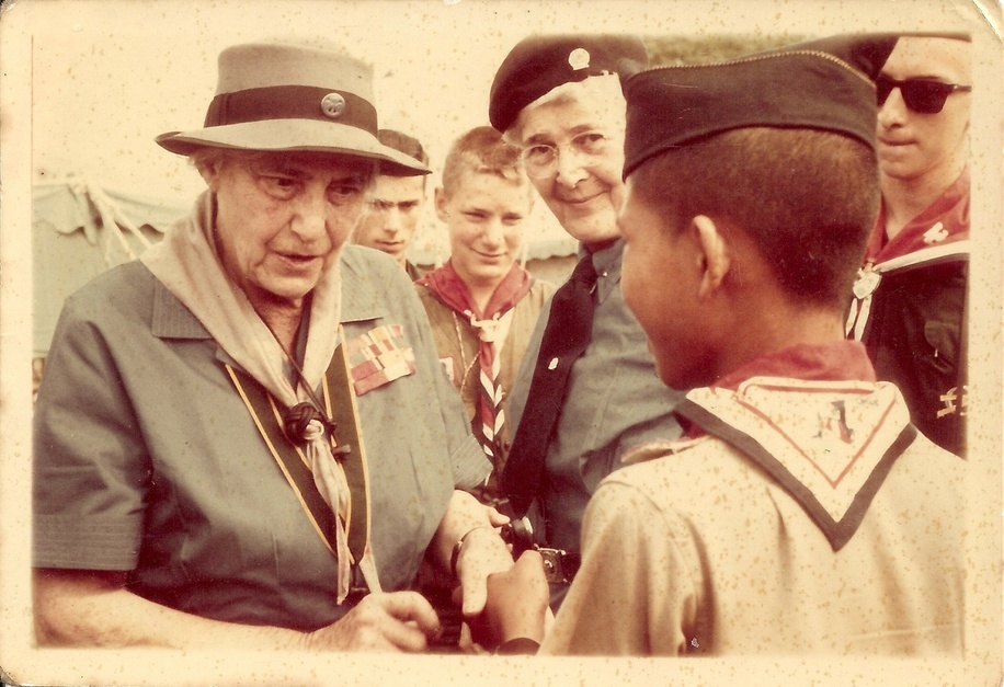 Olave Baden-Powell visited scout from Scouts of China in 6th National Jamboree of Boy Scouts of America in 1964.