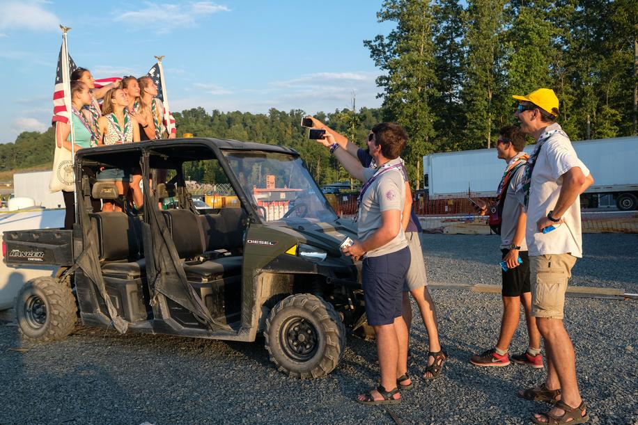 """24th World Scout Jamboree, in Summit Bechtel Reserve, West-Virginia, USA - Les IST au camp de base """"E"""". Photo © Jean-Pierre POUTEAU 2019"""
