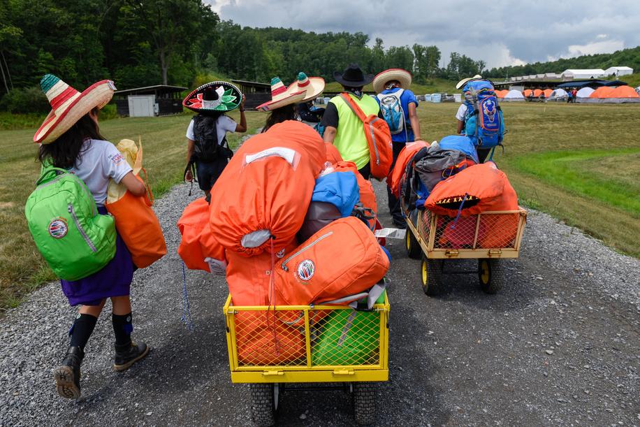 """24th World Scout Jamboree, in Summit Bechtel Reserve, West-Virginia, USA - Arrivée des délégations dans le camp """"D"""". Photo © Jean-Pierre POUTEAU 2019"""