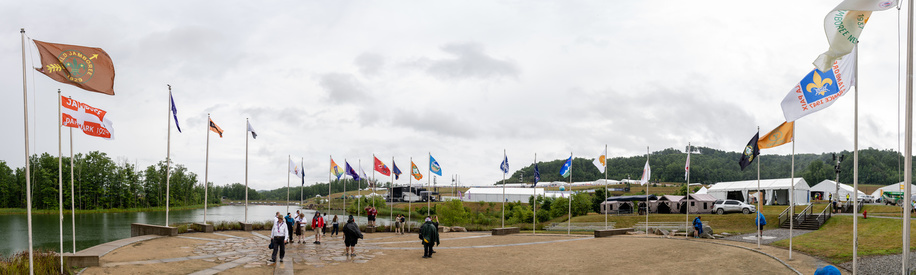 Flags from all Jamborees are raised on the first official event during the 24th World Scout Jamboree, North America, in West Virginia. 2019. Photo by Enrique Leon