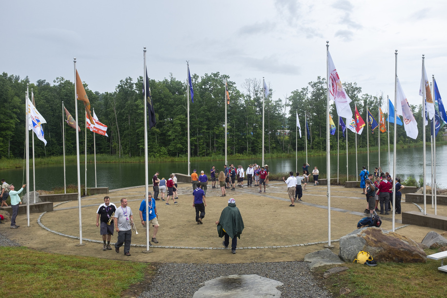 Flags from all Jamborees are raised on the first official event during the 24th World Scout Jamboree, North America, in West Virginia. 2019