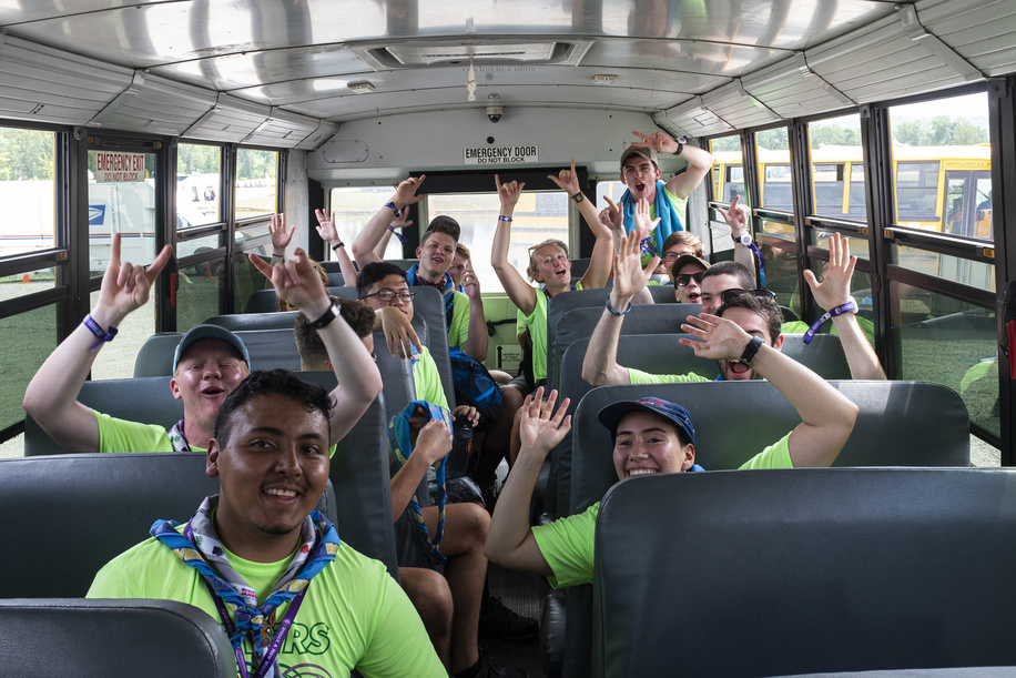A group of IST in the shuttle between the different sub-camps.
