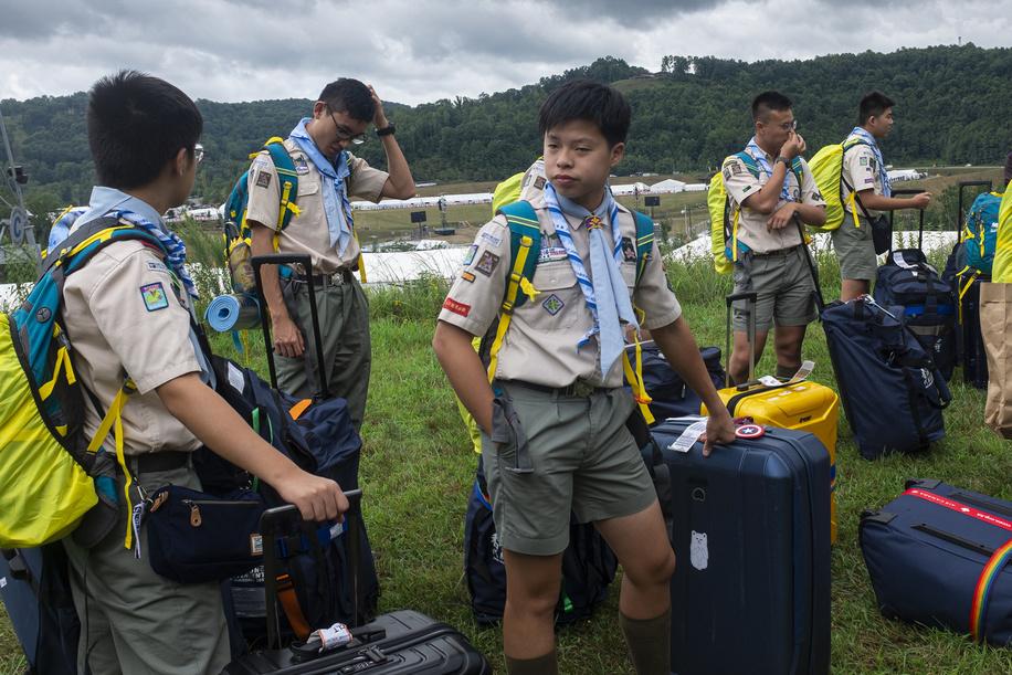Jamboree participants (Hong Kong contigent) arrive into the sub-camps