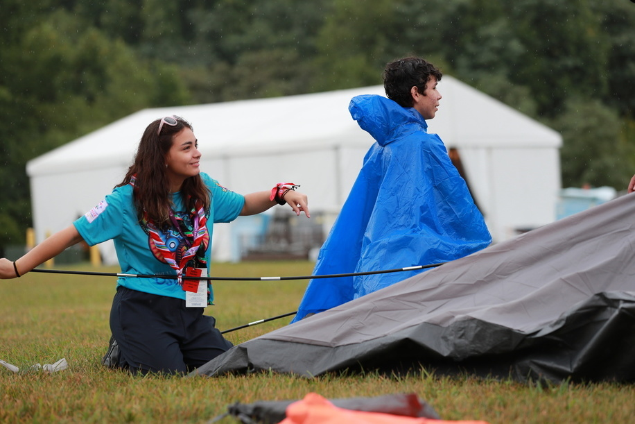 Entering and making tent