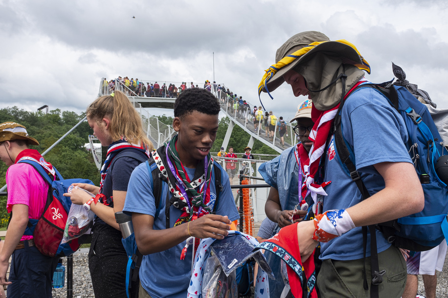 Participants swap scout items near the bridge that goes to Sub-Camp A