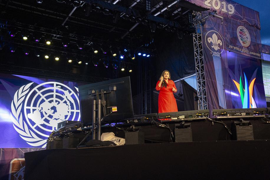 Jayathma Wickramanayake, United Nations Secretary-General's Envoy on Youth, holding a speech at the Unity Show.
