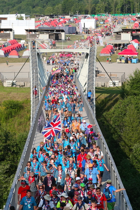 Scouts crossing the main Bridge of the Summit