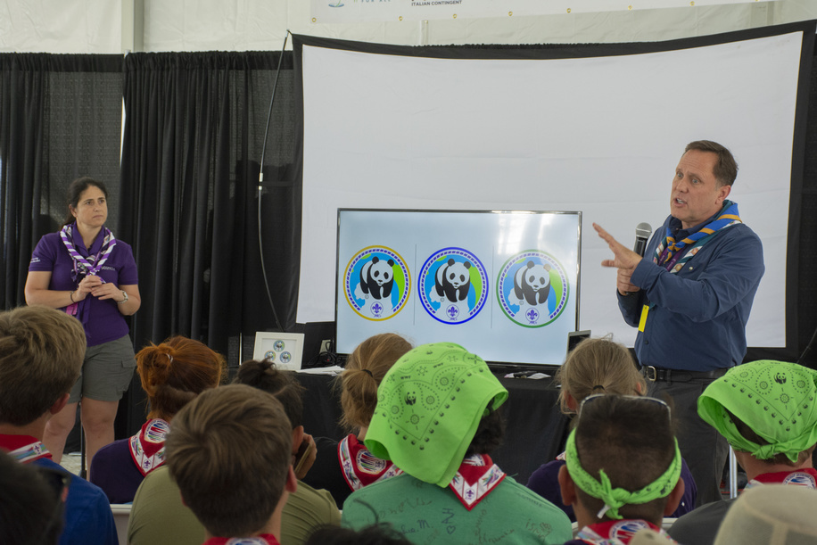 new badge presentation in the GDV, panda badge. Launch of the New Pana BADGE Partnership between World Scouting and WWF