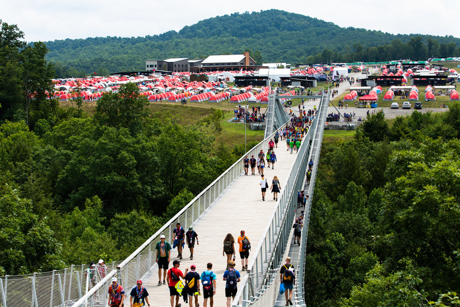 Participants walking across the bridge at the World Scout Jamboree
