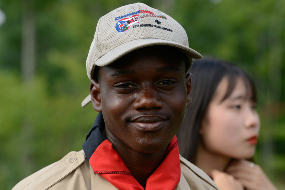 24th World Scout Jamboree, in Summit Bechtel Reserve, West-Virginia, USA - scouts des Zimbabue. Photo © Jean-Pierre POUTEAU 2019