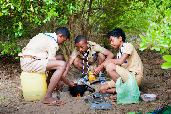 Three young boy scout are cooking under a tree during a camp.