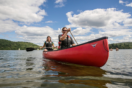 With great weather and warm water it is a perfect time to try some canoeing at the lake.
