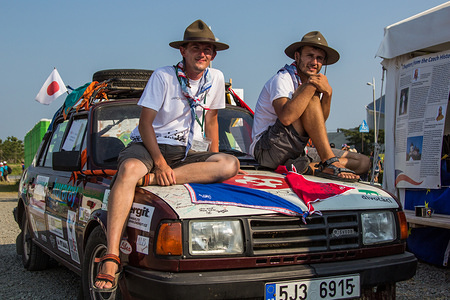 Jakub Pejca and Ales Cahlik, Scouts from Czech Republic traveled 52 days by car to the jamboree.